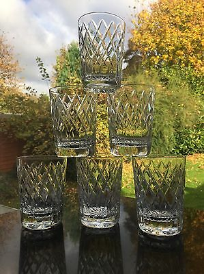 6 Royal Brierley Coventry Cut Small Whisky Tumblers 8.5 Cm Tall
