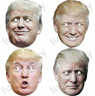 4 Types Of Donald Trump Celebrity Card Mask Fully Cut - Elastic and Sticky Tabs