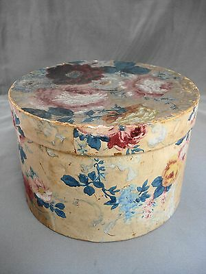 Vintage Childs Wallpaper Covered Hat Wig Box Roses Chrysanthemums Flowers