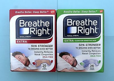 26 Breathe Right Extra Skin Colors or Transparent Nasal Strips nasenstrips Box