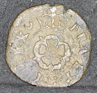 Charles I Hammered Rose Farthing With Brass Wedge. Mint Mark Crescent Both Sides