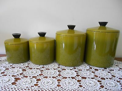 VINTAGE RETRO 1960s GREEN ALUMINIUM CANISTERS WITH BAKELITE KNOBS SET OF 4