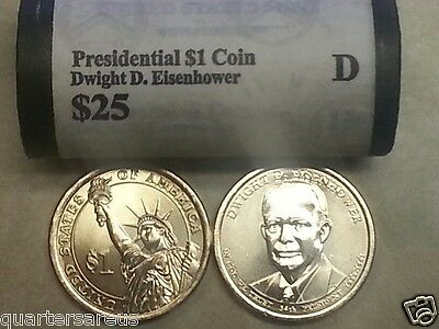 Head/Tail~ 2015 D MINT DWIGHT EISENHOWER PRESIDENTIAL $25 DOLLAR ROLL UNCIRCULAT