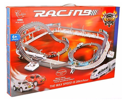 Large Remote Control Slot Car Racing Track Kids Toy Childrens Game 632 cm 20km/h