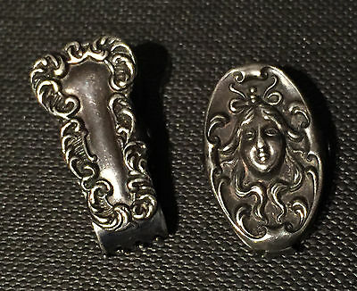 2 Antique Victorian Sterling Silver Paper Clips.