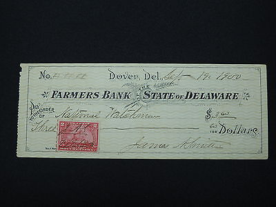 1900 Farmers Bank Of The State Of Delaware Bank Cheque Used With 2 Cent Stamp