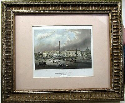 Paris France Obelisk of Luxor c. 1845 Meyer framed engraved hand color print
