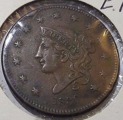 1836 Matron or Coronet Head Large Cent Coin 1c Free Ship!