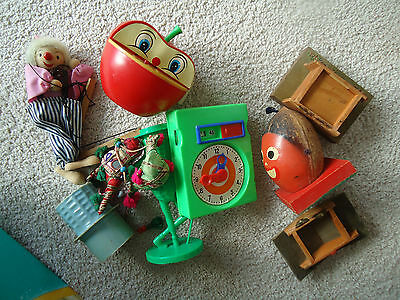 Misc. lot parts vintage items: Mr. Peanuts, Apple Coin Bank worm, toys gear cloc