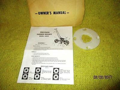 Precision Garden Seeder Model 1001B Manual And 1 Corn Seed Plate Oem