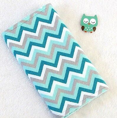 Handcrafted, Flannel Teal Chevron Print & Teal Minky Bubble Baby Burp Cloth