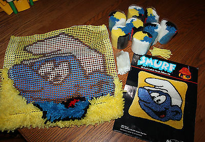 Smurf Latch Hook Pillow Kit 4952 WonderArt Wall Hanging Partially Completed