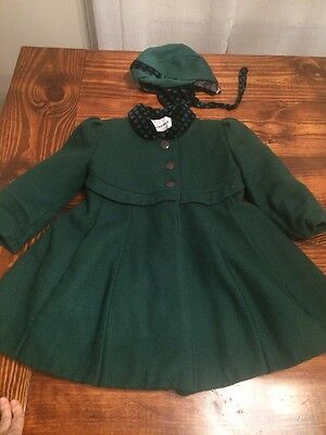 Rothschild Vintage Wool Childs Coat With Hat Trimmed In Velvet