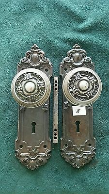 NICE VICTORIAN HEAVY CAST STEEL DOOR KNOBS AND BACKPLATES 2 1/2 by 8 inches (#8)