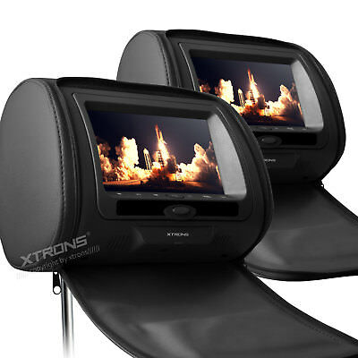 "Twin 2 pcs 9"" Digital Touch Screen Car Headrest Dual Monitor DVD Player USB/SD"