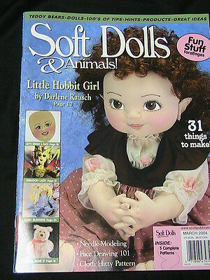 SOFT DOLLS & ANIMALS March 2004 cloth doll patterns~technique~how magazine