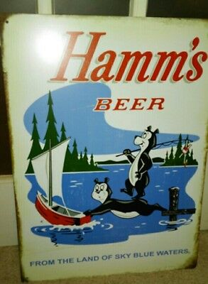 Hamms Beer Bear & Baby Bear Tin Sign Land Of Sky Blue Waters