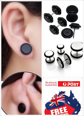 1pc Screw-on Fake Ear Plugs Stainless Steel Studs Piercing Earrings with O-Rings