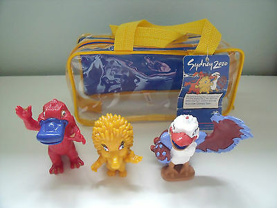 Rare Sydney 2000 Olympic Mascot Figures Olly Syd And Millie In Plastic Carrycase