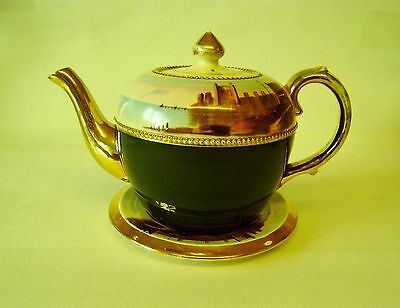 Victorian TeaPot With Matching Stand Scottish Castle Lake Mountain Scene Quality