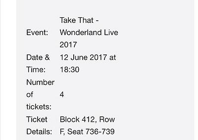 Take That Tickets X4 (can buy separately)