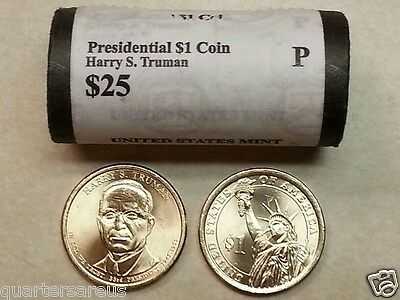 Head/Tail~ 2015 P MINT HARRY S. TRUMAN PRESIDENTIAL $25 DOLLAR ROLL UNCIRCULATED