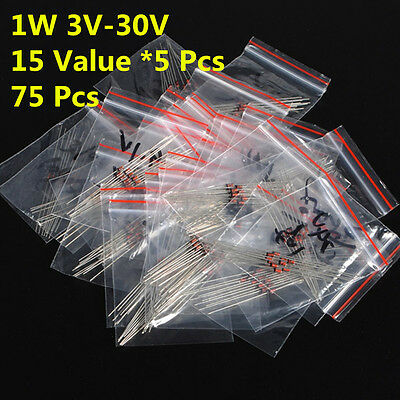 75Pcs 15 Values 1W 1 W 1N47 3V-30V Zener Diode Assorted Kit Assortment Set
