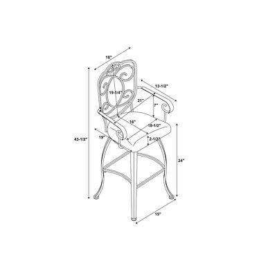 Linon Crested Back 24 High Counter Stool With Back With Arms In