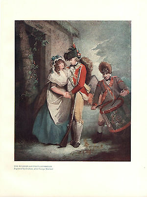 Antique British Military Print of The Billited Soldier's Departure