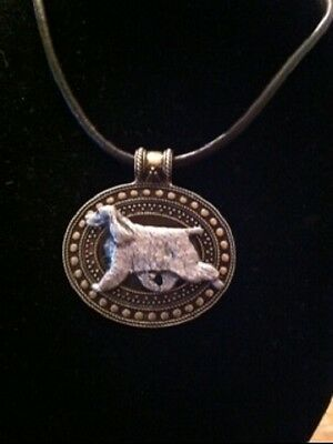 English Cocker Spaniel Dog Brass Medallion on leather cord~necklace