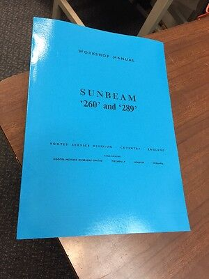 Sunbeam Tiger 260 & 289 Workshop Manual Instruction Repair Rootes Talbot