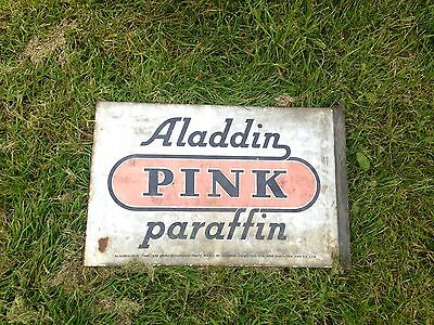 Vintage 'Aladdin Pink Paraffin' Shell-mex BP Heavy Enamel Double Sided Sign