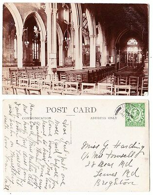 Early Postcard,Suffolk, Ipswich, Mary Le Tower Church Interior, 1913, RP