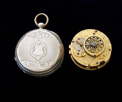 Verge Fusee European Pocket Watch in Open Faced Engraved Silver Case