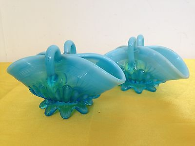 "Pair Antique ""Davidson"" Pearl Line Blue Glass Posy Baskets Vases C1895 Victorian"