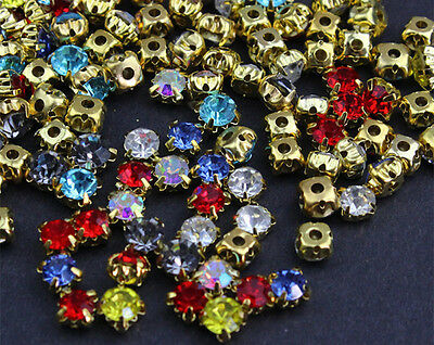 100PCS AA 4mm Sew On Glass Crystals Faceted Rhinestones gold plated pick color