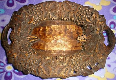 Vintage USSR 1940s Hand Carved Wooden tray