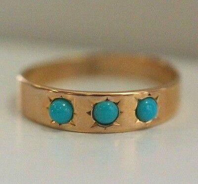 Antique Vintage 10K Gold Three Stones Turquoise Ring Size 3.25