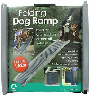 FOLDING DOG TRAVEL RAMP SUPPORTING JOINT CARE CAR VAN STRONG BI FOLD PET * New
