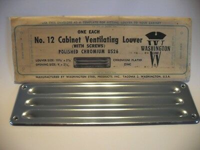 "Vtg NOS CHROME Louvered VENT Kitchen Sink Cabinet Trailer Fridge 10-3/8""X 2-7/8"""