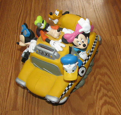 Disney Characters Taxi Piggy Bank Mickey Minnie Donald Pluto Goofy