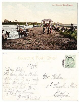 Early Postcard,Suffolk, Woodbridge, The Beach, Old Shelter, People Outside 1907