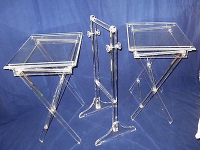 2 Vintage Lucite Acrylic Folding Tables with Stand - Quality