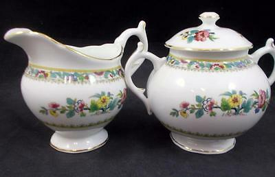 Coalport MING ROSE SCALLOPED Creamer & Sugar w/Lid Bone China GREAT CONDITION