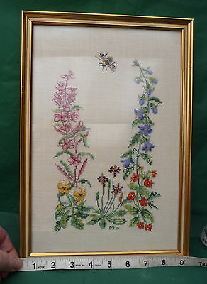 pretty cottage garden flowers cross stitch picture display wall hanging