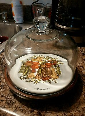 Goodwood Cheese Tray Glass Cloche Cover Ceramic Plate Nut & Fruit Motif