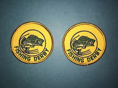 2 Lot Vintage Fishing Derby Angler Sew On Hat Jacket Hoodie Backpack Patches