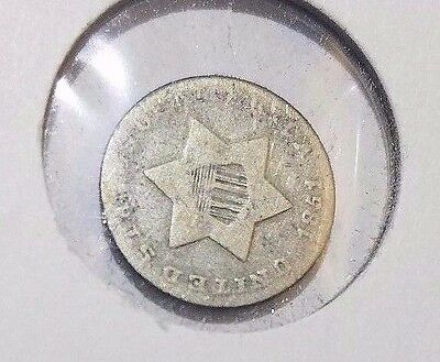 1851 Three Cent Silver piece coin old US coin Free Shipping!