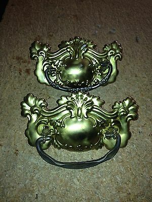 "1930's 5 1/4"" Pr Ornate Brass Drawer Pulls"