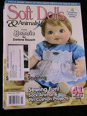 SOFT DOLLS & ANIMALS September 2009 cloth doll patterns~technique~how magazine